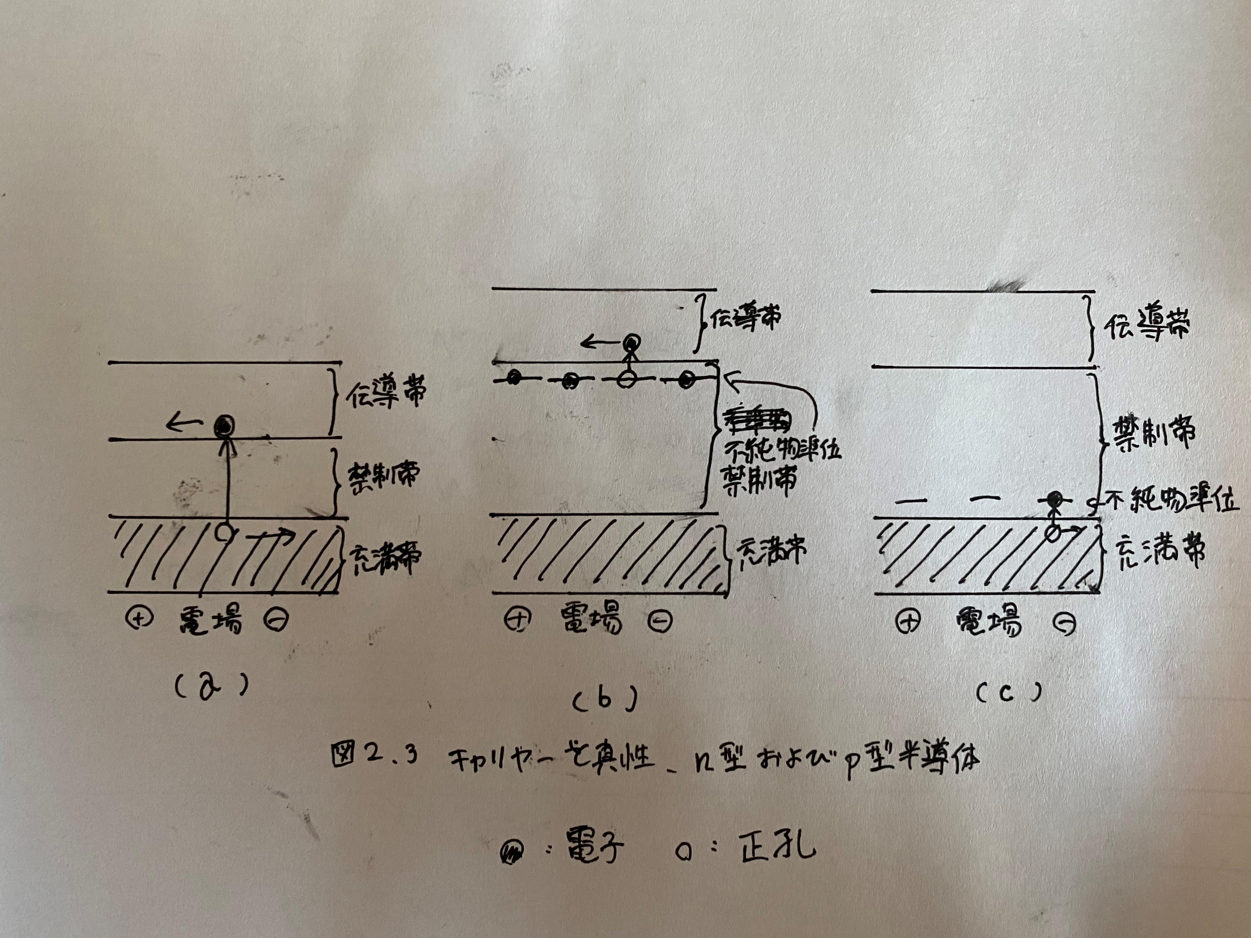 図2.3 キャリヤーと真性、n型及びp型半導体